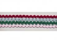 Klöppelspitze 1085, Breite 34 mm, Farbe rosa, türkisgrün, hellblau, dunkelrot