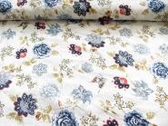 Baumwollstoff 99-021-AL in weiß - bestickt mit Blumendruck blau, Breite ca. 140 cm