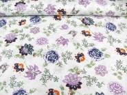Baumwollstoff 99-022-AL in weiß - bestickt mit Blumendruck lila, Breite ca. 140 cm