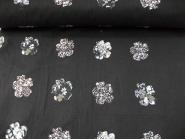 Baumwollstoff schwarz PO-092369 mit aufgenähten Blumen, Breite ca. 140 cm