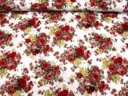 Baumwollstoff Stretch L12000-004 in weiß mit Rosendruck rot, Breite ca. 125 cm