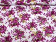 Baumwollstoff Stretch L12000-001 in weiß mit Rosendruck violett, Breite ca. 125 cm