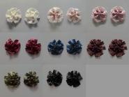 Blumenapplikation Nr. 56058846 mit Satinrosen und Strasssteinen, Durchmesser ca. 6 cm