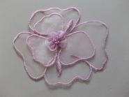Chiffon-Blumenapplikation Nr. F 11429-03 mit Perlen verziert, Größe ca. 12 x 10 cm, Farbe 03 lila