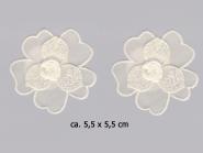 Chiffonblume bestickt Nr. 91488 mit Satinrose in natur, Größe ca. 5,5 x 5,5 cm