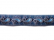 Besatzband in jeansblau mit Ornament und Silberglitter, Breite 25 mm