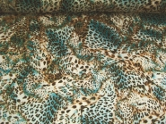 Georgette 467269 Leodruck in natur-braun-türkis, Breite ca. 150 cm
