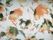 Georgette L80401 in weiß mit Blumendruck orange/grün, Breite ca. 140 cm