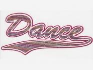 Glitter-Bügelmotiv NS073P - Dance pink, Größe ca. 20,5 x 9,5 cm