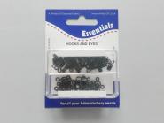 Haken- und Ösen - Federhaken schwarz Nr. 70951, 24 Paar in Dose, Hakenlänge 10 mm, Ösenlänge 8 mm