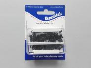 Haken -und Ösen - Federhaken schwarz Nr. 70971, 24 Paar in Dose, Hakenlänge 12 mm, Ösenlänge 9 mm