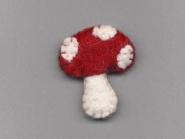 Jim Knopf Filz-Fliegenpilz rot-weiß Nr. 12203, Größe 68 (ca. 4,5 cm breit, 5 cm hoch)