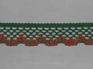 Klöppelspitze 75067_10054, Breite 47 mm, Farbe grün und rot mit Lurex gold