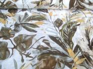 Leinenstoff Isla Sharma HI-K8202/1 weiß - Blumendruck braun/gold, Breite ca. 135 cm