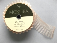 Mokuba Pleated Organdy Ribbon Nr. 0498-50, Breite  ca. 50 mm, Farbe natur