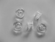 Nähmaschinenspulen Kunststoff gewölbt 19,5/8,5/11, Farbe transparent