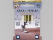 Organ Maschinennadeln Superstretch Nr. 387901, Stärke 3 x 75 und 2 x 90 sortiert, Karte mit 5 Nadeln