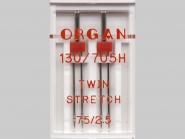 Organ Zwillingsnadel Stretch Nr. 388001, Typ 75/2,5, Box mit 2 Nadeln