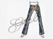 Pailletten-/Nieten-Bügelmotiv LS 283 - Glitter-Jeans, Größe 17 x 16 cm