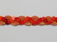 Paillettenband zick-zack rot mit Gimpe gold Nr. 289476-550, Breite ca. 16 mm