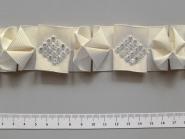 Ripsband G1712-124 in champagner mit Strasssteinen verziert, Breite ca. 15 mm