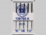Maschinennadeln Jeans Nr. 170700, Stärke 90, 100 und 110 sortiert, Box mit 5 Nadeln