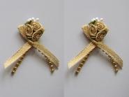 Satinrosen mit Schleife und Perlen JH-M0799g in Lurex gold, Größe ca. 6 cm