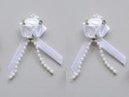 Satinrosen mit Schleife und Perlen JH-M0799w in weiß, Größe ca. 6 cm