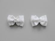 Doppel-Satinschleife mit Perlenring Nr. 54412, Farbe weiß, Größe ca. 4 x 2,5 cm
