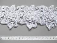 Stickblume auf Tüllband G1712-208 in weiß, Größe ca. 7 x 9 cm