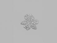 Strass-Bügelmotiv CS037, Strassapplikation auf silberner Glitterfolie, Größe ca. 3,3 x 3 cm