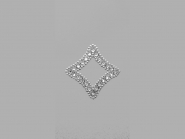 Strass-Bügelmotiv CS081, Strassapplikation auf silberner Glitterfolie, Größe ca. 4,5 x 4,5 cm
