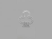 Strass-Bügelmotiv CS082, Strassapplikation auf silberner Glitterfolie, Größe ca. 4,5 x 4,8 cm