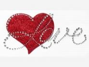 Strass-/Glitter-Bügelmotiv PS 016 - Love mit Strasssteinen, Größe ca. 8,8 x 16,5 cm