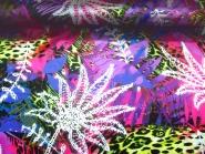 Stretchsatin Leaves QSU2038-117 in lila/violett, Breite ca. 144 cm