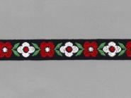 Trachtenband in schwarz GA-85953 mit Blumen bestickt, Breite ca. 22 mm