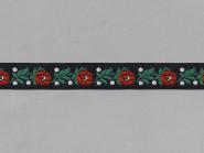 Trachtenband 16066-02 in schwarz mit Rosen in rot bestickt, Breite ca. 18 mm