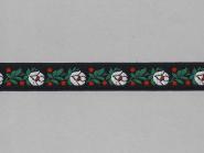 Trachtenband 16066-00 in schwarz mit Rosen in weiß bestickt, Breite ca. 18 mm