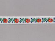 Trachtenband 16066-25 in weiß mit Rosen in rot bestickt, Breite ca. 18 mm
