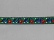 Trachtenband 16066-30 in grün mit Rosen in rot bestickt, Breite ca. 18 mm