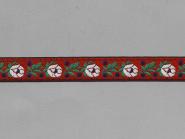 Trachtenband 16066-65 in rot mit Rosen in weiß bestickt, Breite ca. 18 mm