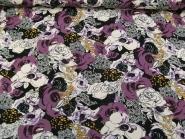 Viskose Jersey 42-016-AL-47 mit Blumendruck lila/schwarz, Breite ca. 148 cm