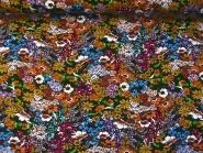 Viskose Jersey schwarz 99-040-BVO mit Blumendruck in Weiß, Rot und Ockertönen, Breite ca. 140 cm
