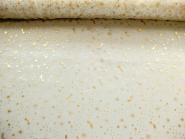 Weihnachtsorganza L8113-206 creme mit goldenen Schneekristallen, Breite ca. 150 cm