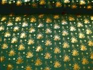 Weihnachtsorganza L8113-211 dunkelgrün mit Weihnachtsglöckchen gold, Breite ca. 150 cm