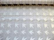 Weihnachtsorganza L8113-212 weiß mit Tauben beflockt und Goldglitter, Breite ca. 150 cm