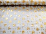 Weihnachtsorganza L8113-215 weiß mit goldenen Weihnachtsglöckchen, Breite ca. 150 cm