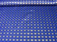 Weihnachtsdekostoff RS0130-005 in blau mit Goldglitter-Karos, Breite ca. 145 cm
