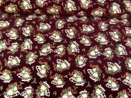 Weihnachtsdekostoff L8113-112 in bordeaux mit Weihnachtsglöckchen-Goldglitter, Breite ca. 150 cm