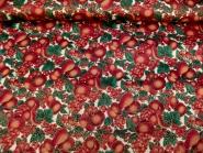 Weihnachtsdekostoff L8113-113 Motiv Weihnachtsapfel in rot mit rotem Glitter, Breite ca. 155 cm